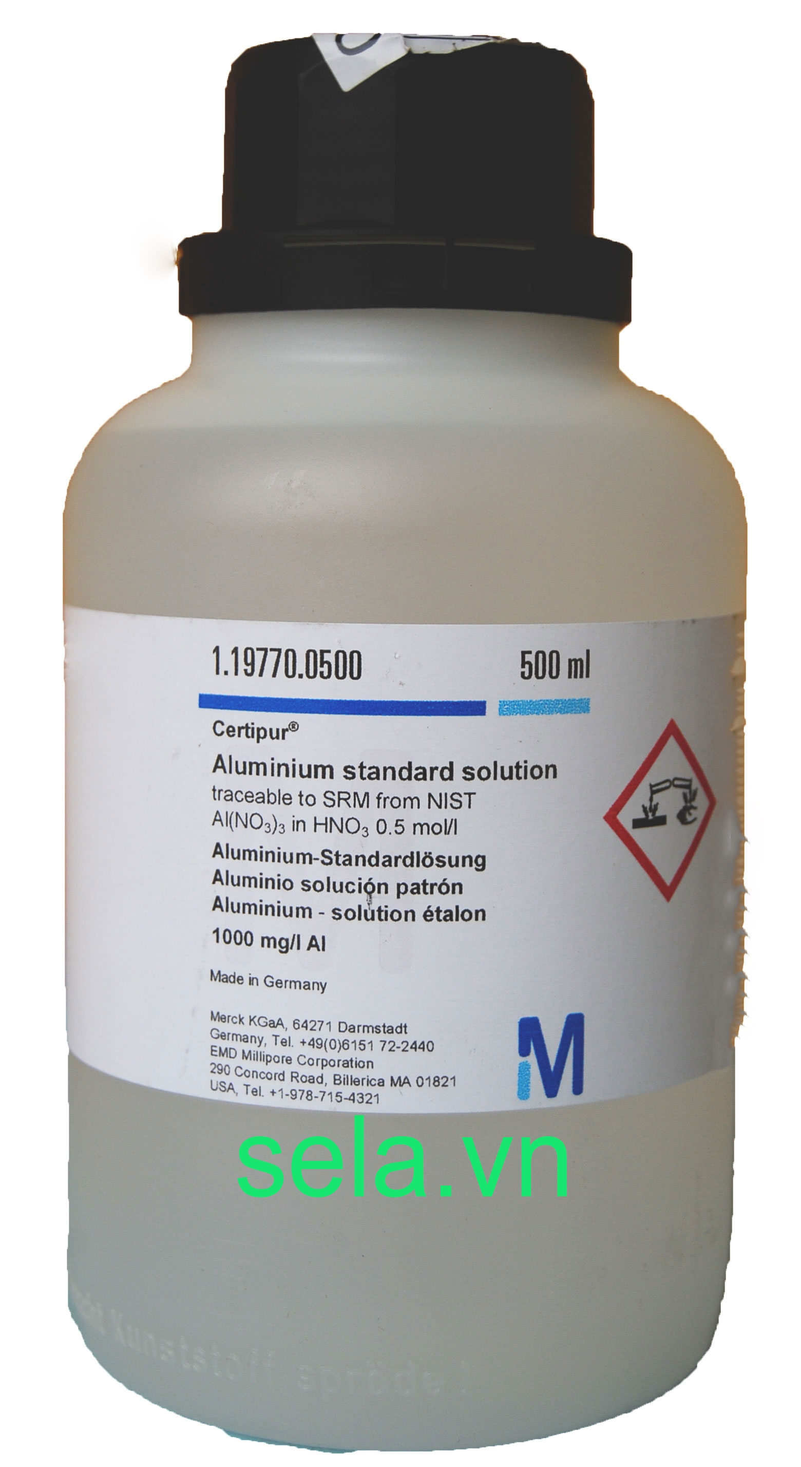 Aluminium standard solution traceable to SRM from NIST Al(NO₃)₃ in HNO₃ 0.5 mol/l 1000 mg/l Al Certipur®
