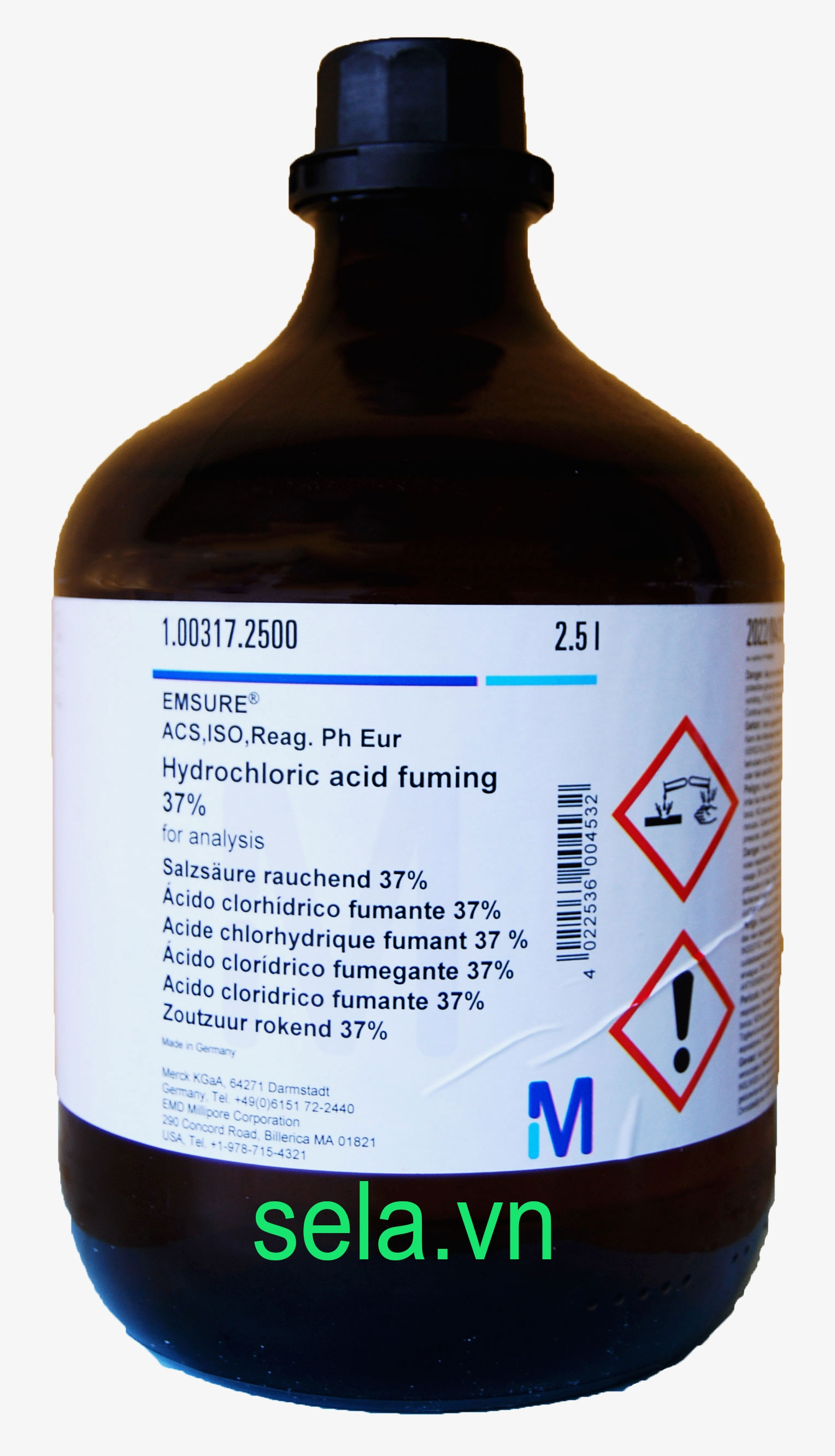 Hydrochloric acid fuming 37% for analysis EMSURE® ACS,ISO,Reag. Ph Eur