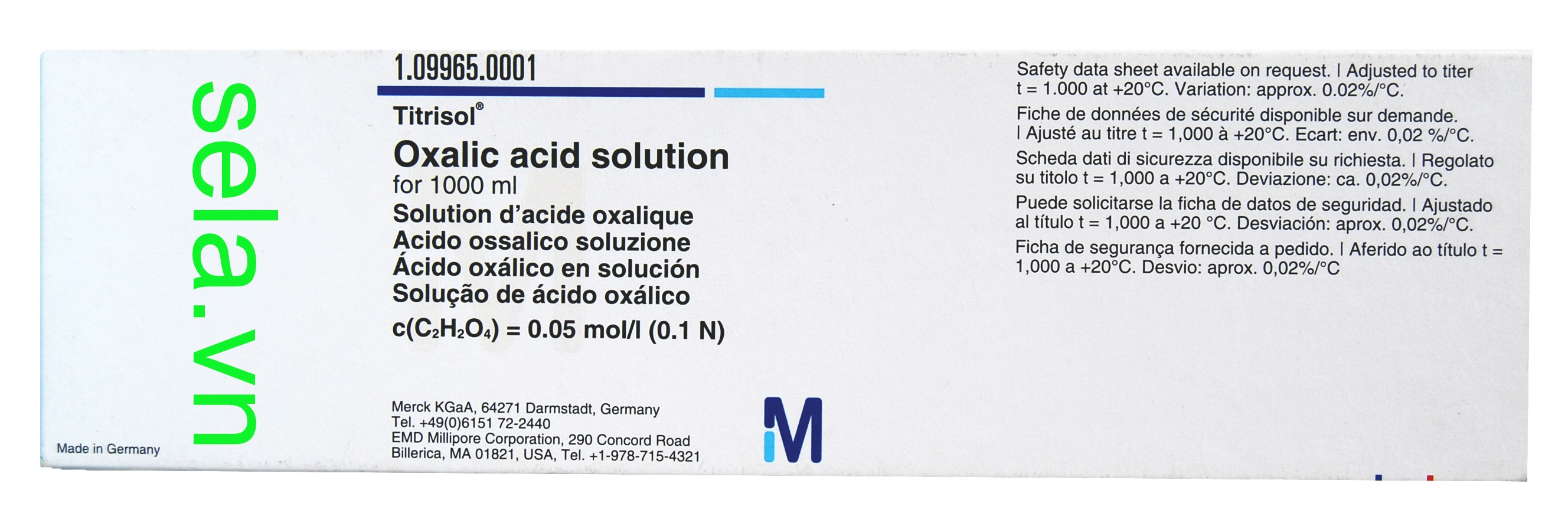 Oxalic acid solution for 1000 ml, c(C₂H₂O₄) = 0.05 mol/l (0.1 N) Titrisol®