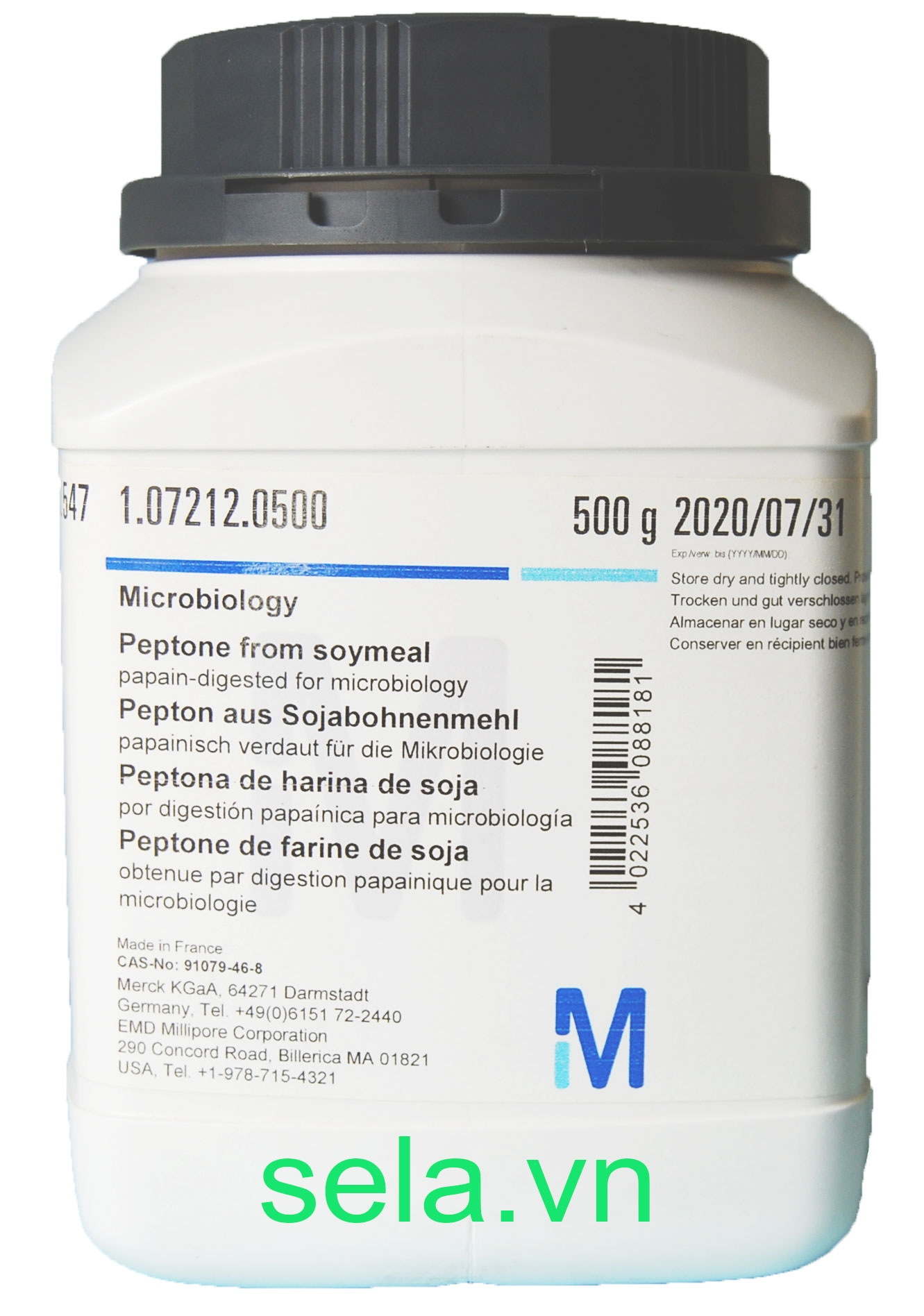 Peptone from soymeal papain-digested for microbiology