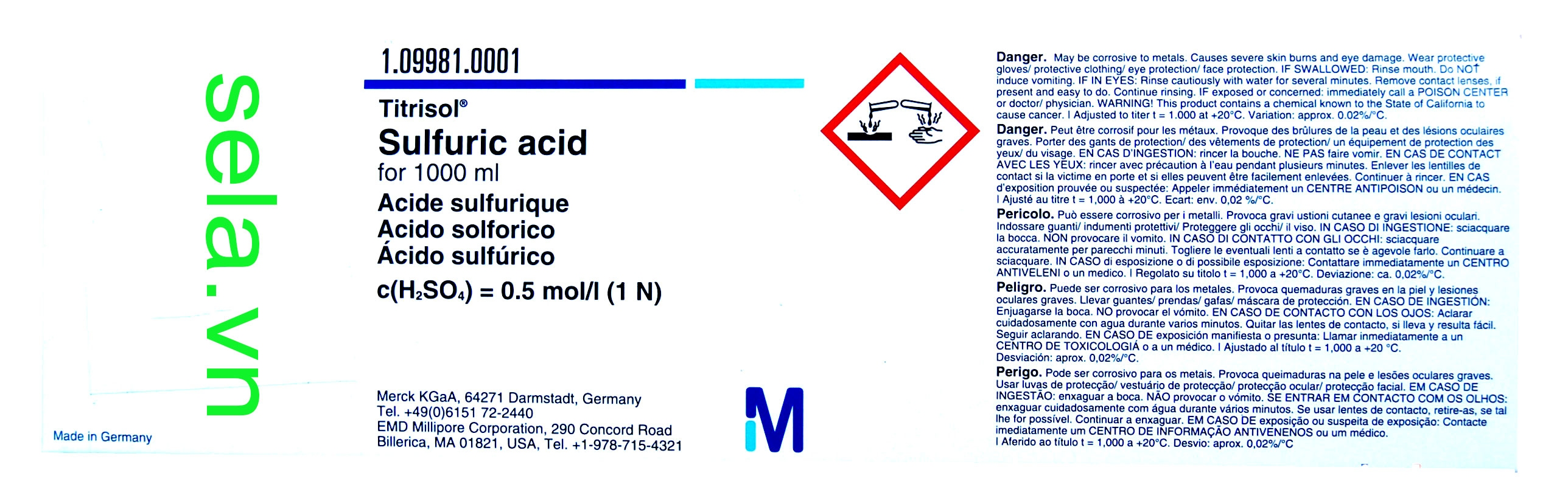 Sulfuric acid for 1000 ml, c(H₂SO₄) = 0.5 mol/l (1 N) Titrisol®